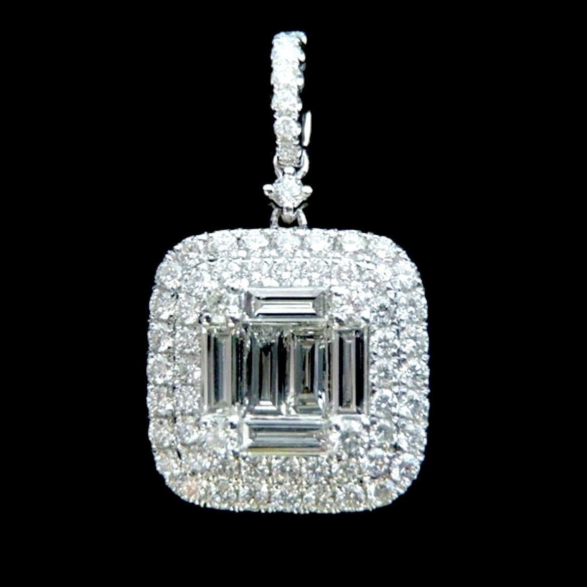 Margaret Baguette Diamond Pendant in 18K White Gold - Kura Jewellery