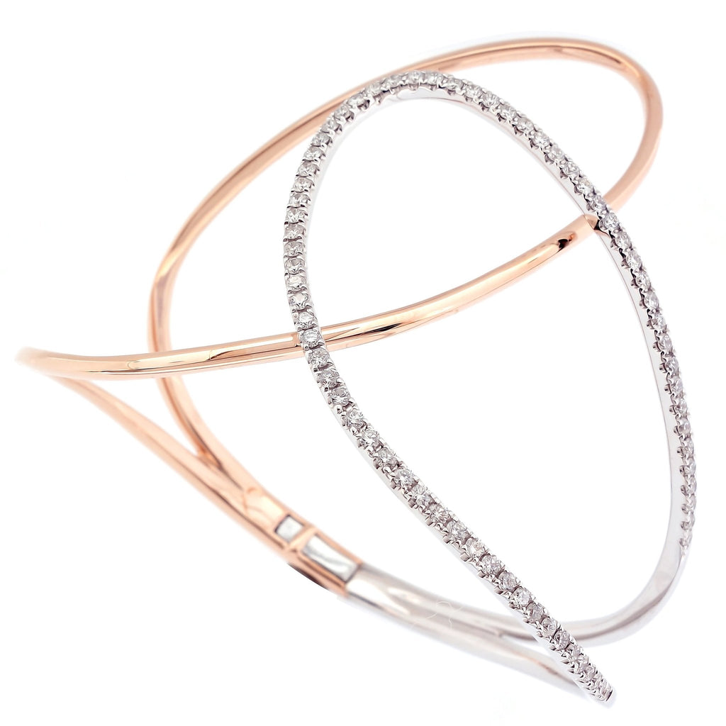 Mhyla Statement Bangle in 2 tones 18Karat Gold and Diamonds