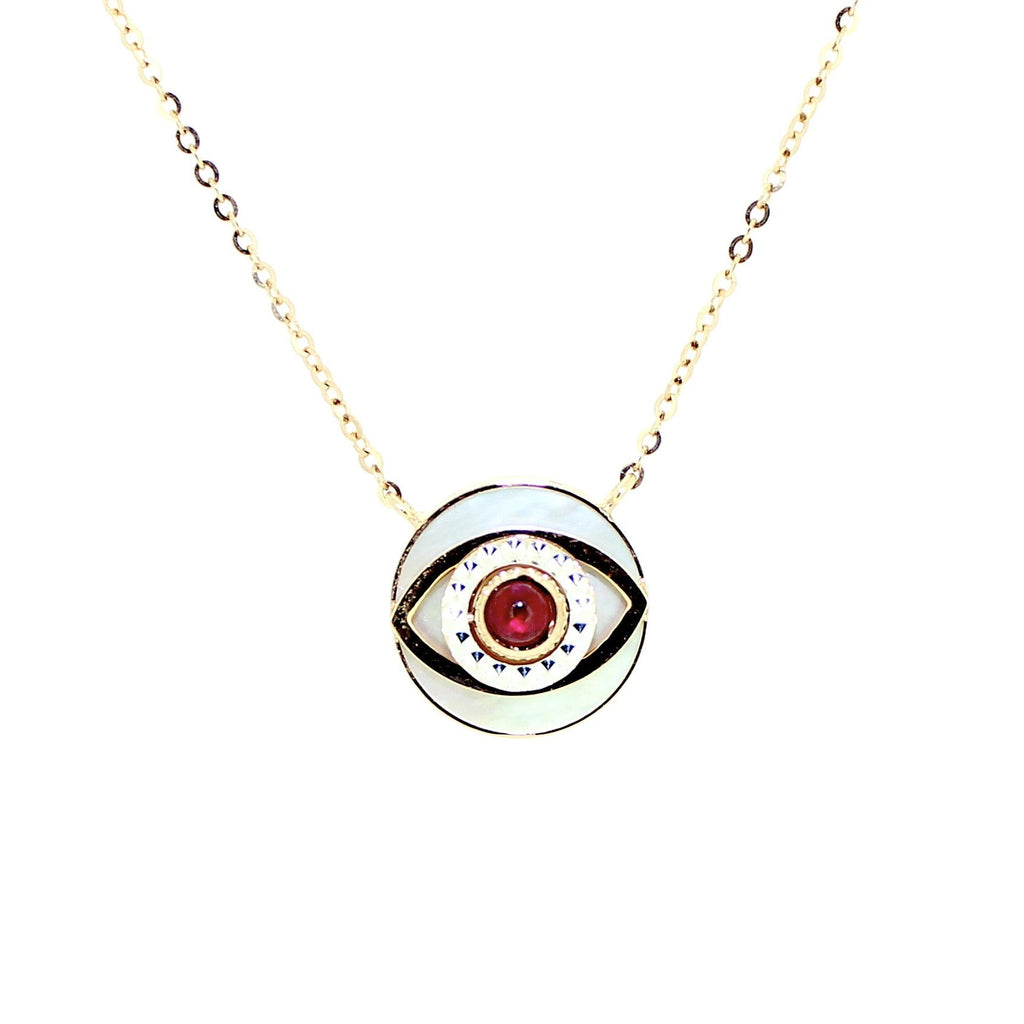 Mother of Pearl Evil Eye Necklace in 18 Karat Rose Gold