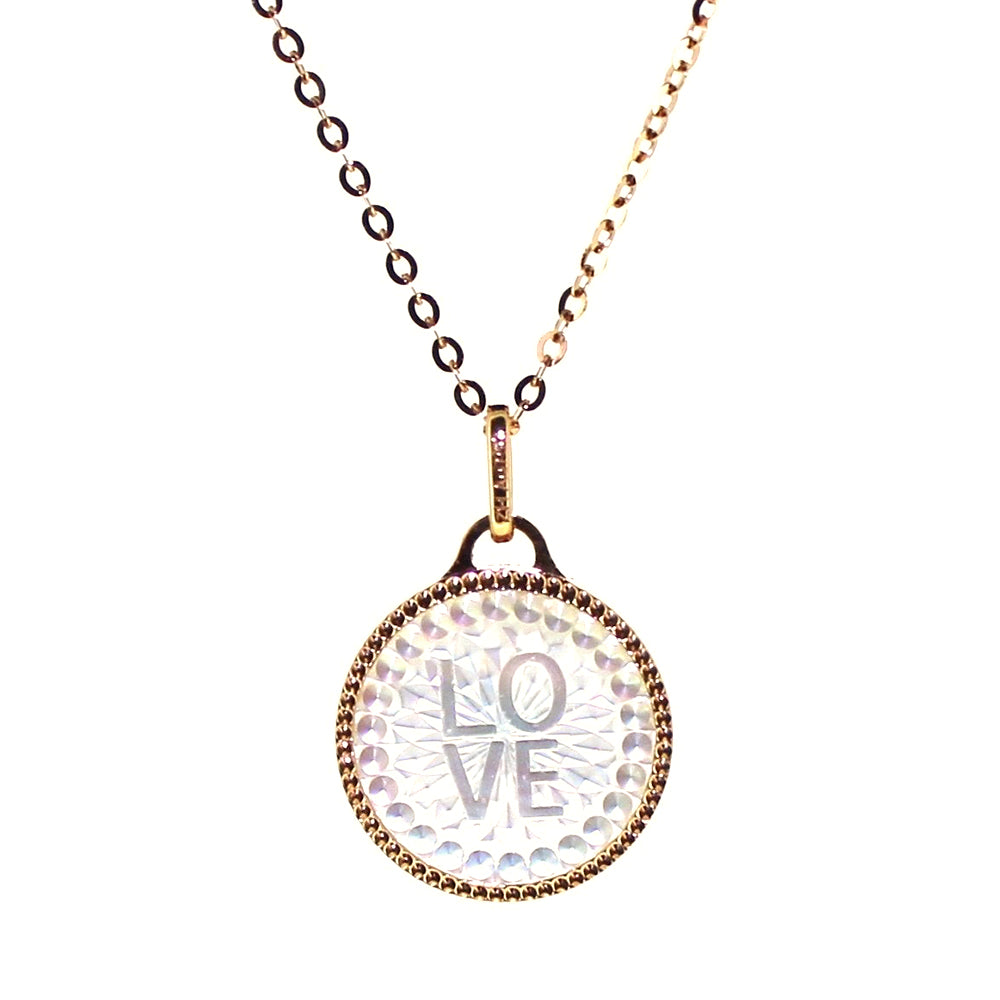 Mother of Pearl Love/Clover Pendant on Chain  in 18 Karat Rose Gold