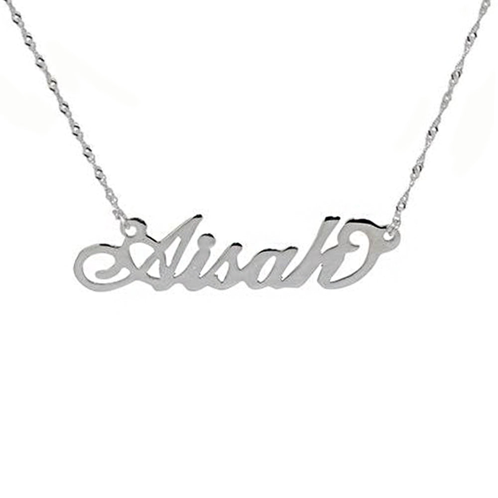 Name Necklace Double Thickness in 14Karat White Gold - Kura Jewellery