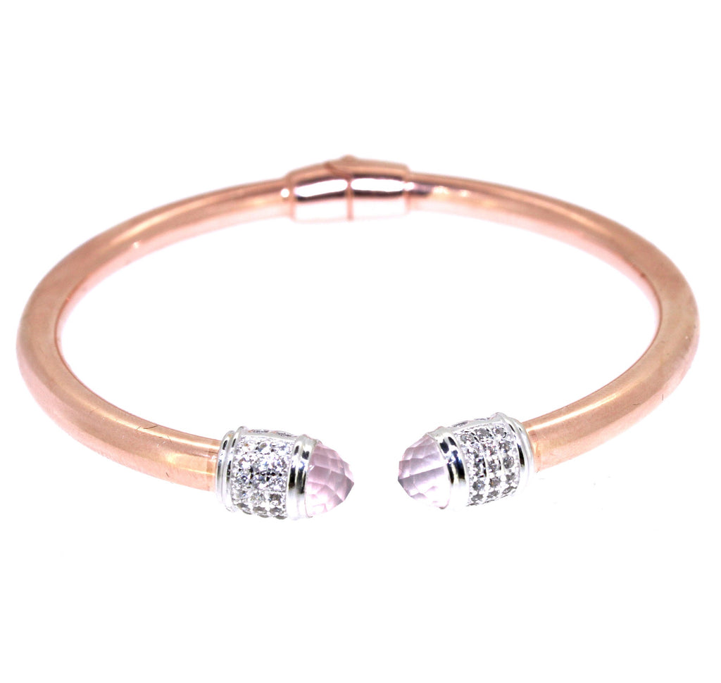 Iris Cuff Bracelet  Rose Quartz - 18K Rose Gold Plated on 925 Sterling Silver