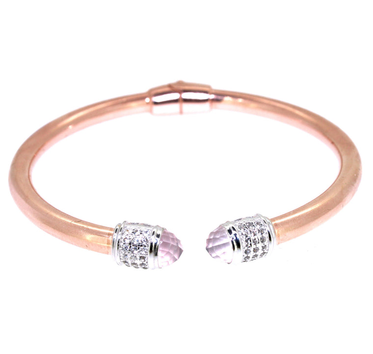 Orbit Cuff Rose Quartz - Rose Gold Plated on Sterling Silver