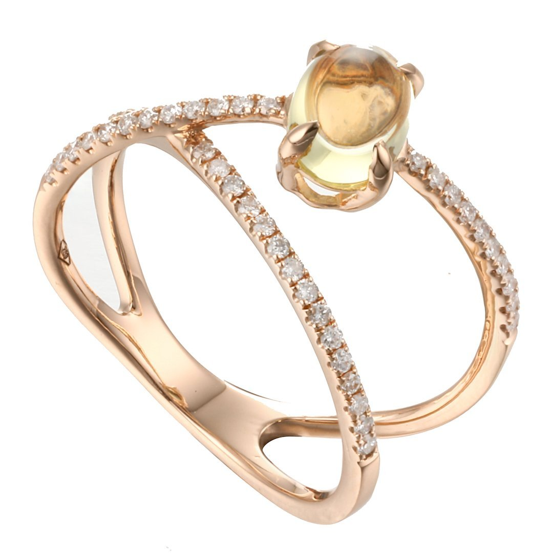 Rock Candy Lemon Quartz Cabochon Criss-Cross Ring in 18K Rose Gold - Kura Jewellery