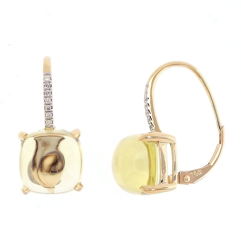 Rock Candy Lemon Quartz Cabochon Earrings in 18K Yellow Gold - Kura Jewellery