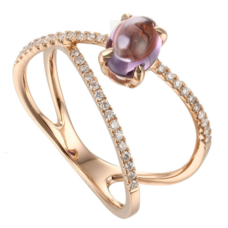 Rock Candy Purple Amethyst Cabochon Criss-Cross Ring in 18K Rose Gold - Kura Jewellery
