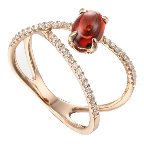 Rock Candy Red Garnet Cabochon Criss-Cross Ring in 18K Rose Gold - Kura Jewellery