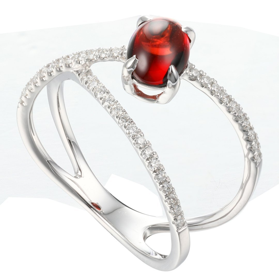 Rock Candy Red Garnet Cabochon Criss-Cross Ring in 18K White Gold - Kura Jewellery