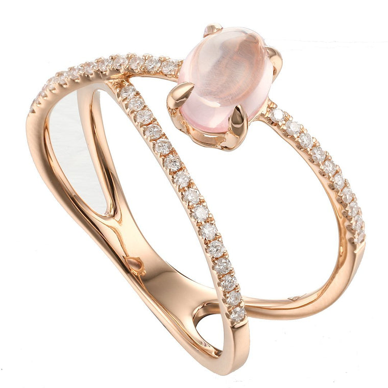 Rock Candy Rose Quartz Cabochon Criss-Cross Ring in 18K Rose Gold - Kura Jewellery