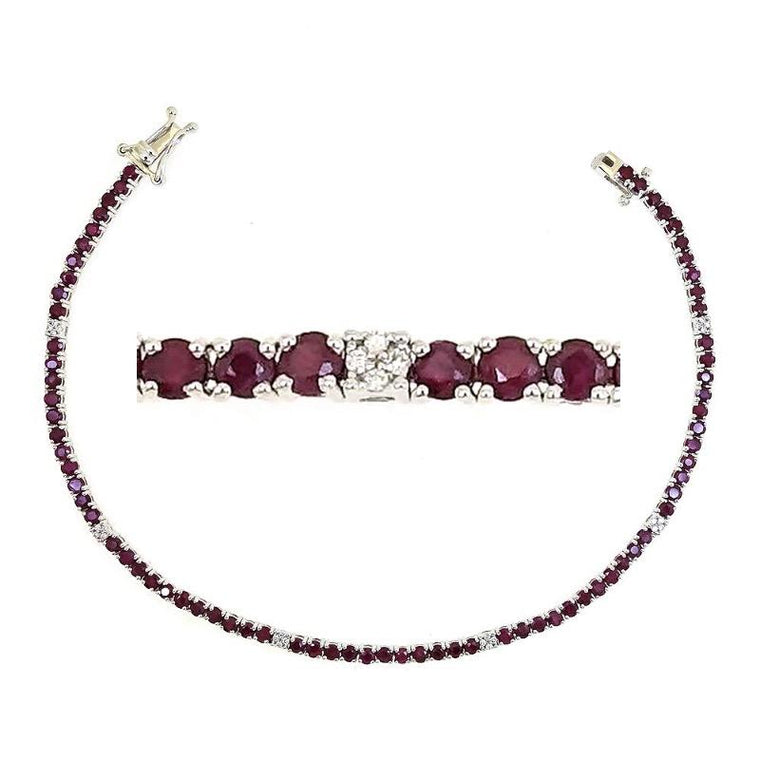 Ruby and White Diamonds Tennis Bracelet in 18k White Gold - Kura Jewellery
