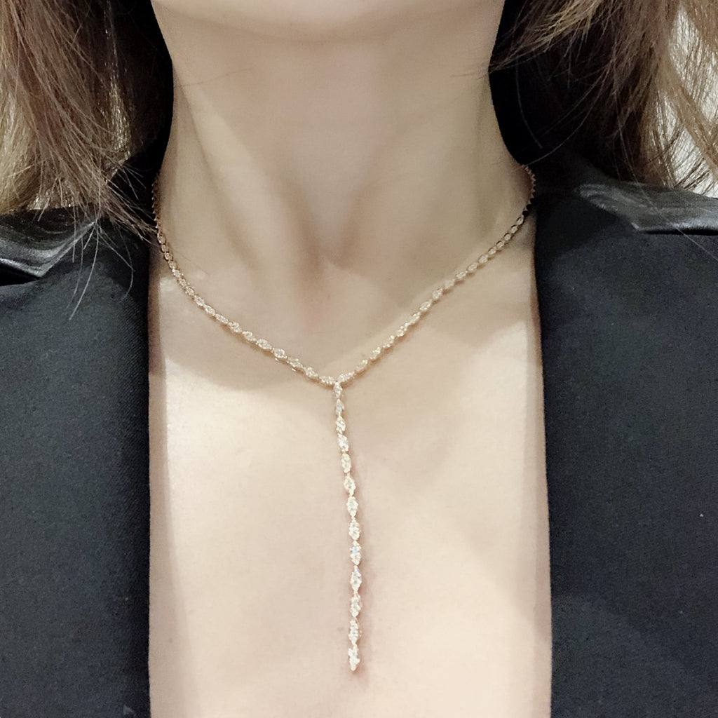 Serpenti Lariat Necklace with Diamonds in 18K Rose Gold