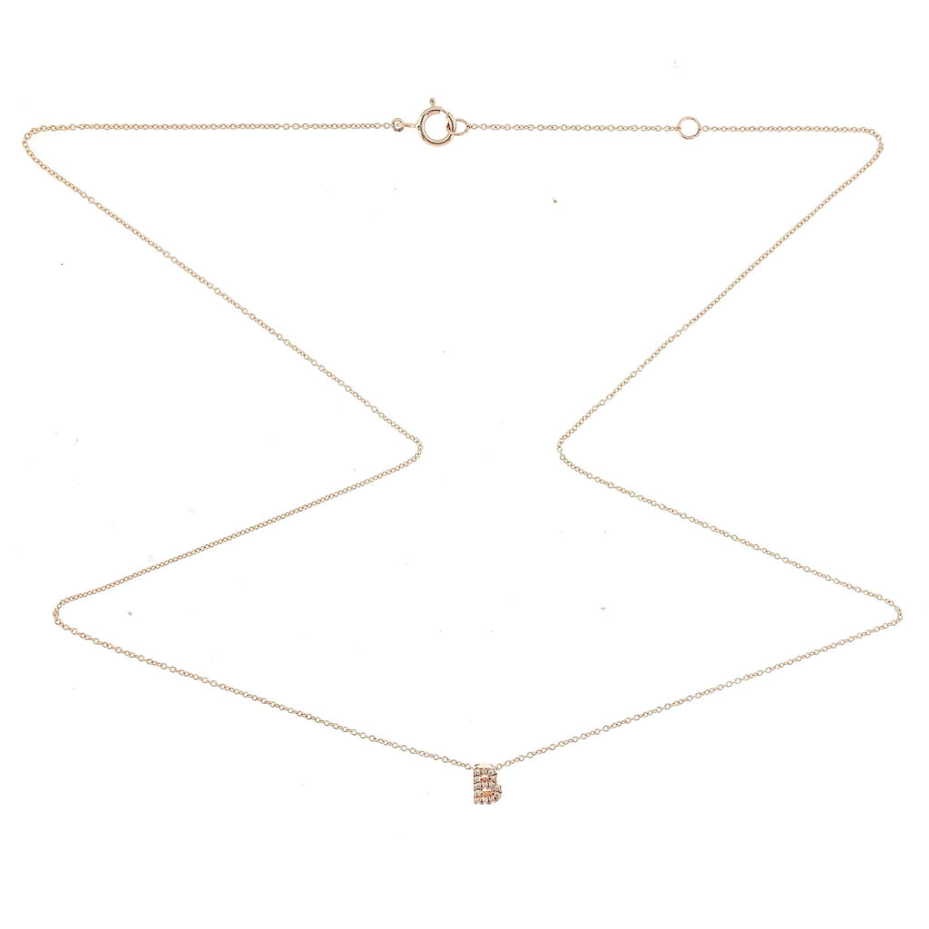 "Skinny Alphabet Necklace ""B"" in 18K Gold with Diamonds. - Kura Jewellery"