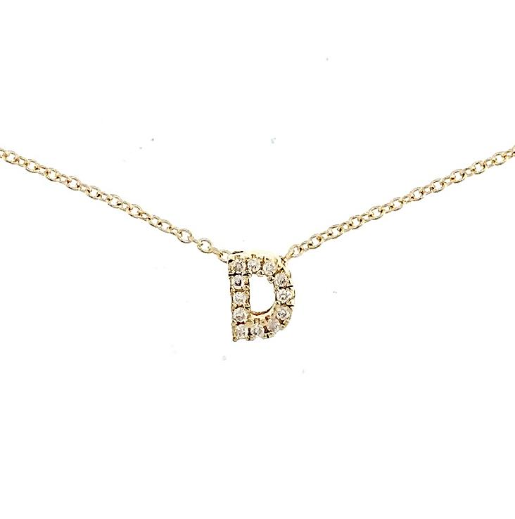"Skinny Alphabet Necklace ""D"" in 18K Gold with Diamonds. - Kura Jewellery"