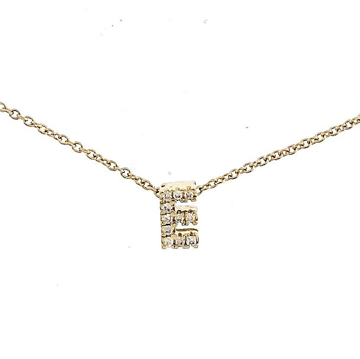"Skinny Alphabet Necklace ""E"" in 18K Gold with Diamonds. - Kura Jewellery"