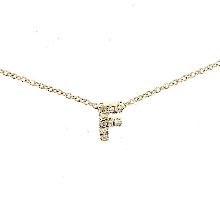 "Skinny Alphabet Necklace ""F"" in 18K Gold with Diamonds. - Kura Jewellery"