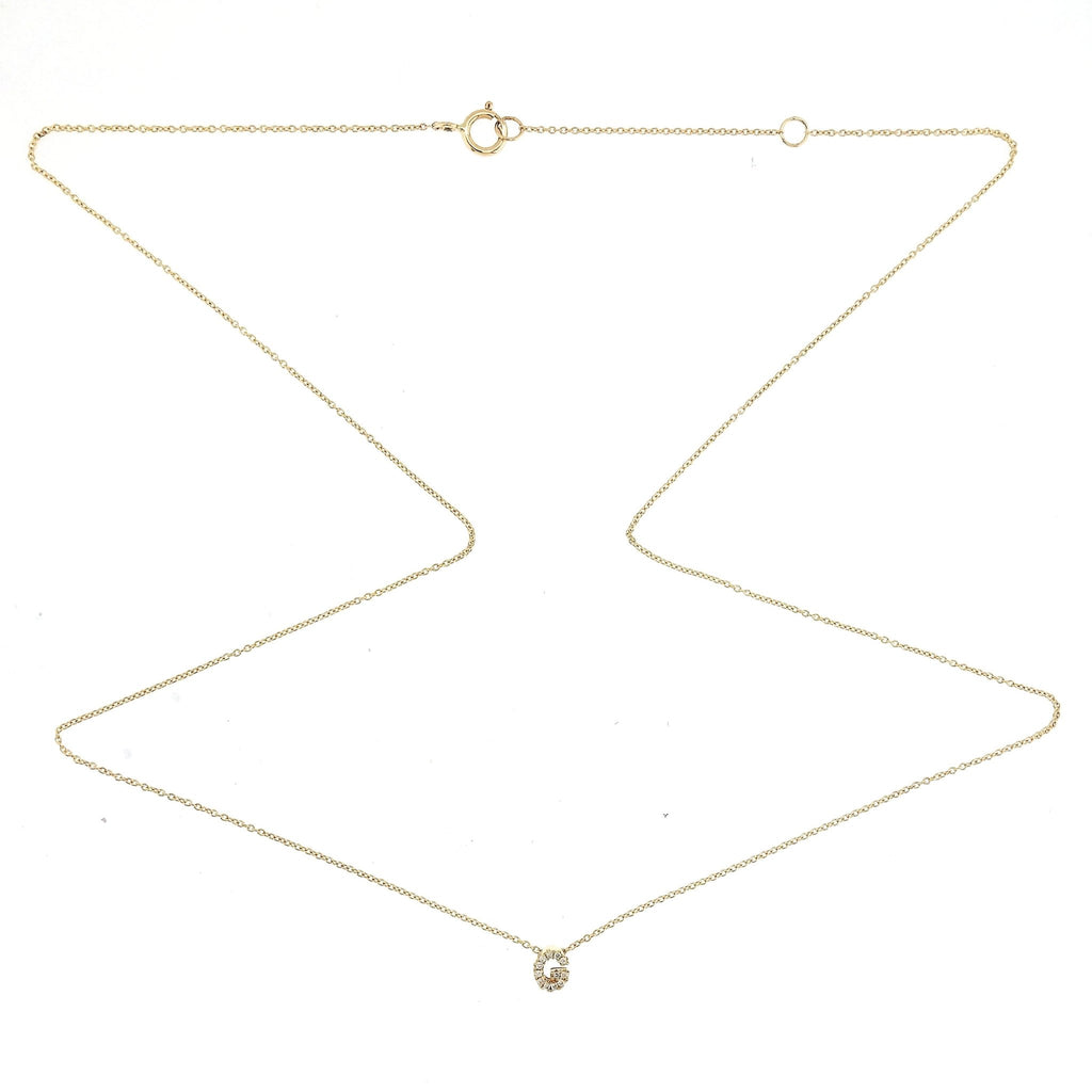 "Skinny Alphabet Necklace ""G"" in 18K Gold with Diamonds. - Kura Jewellery"
