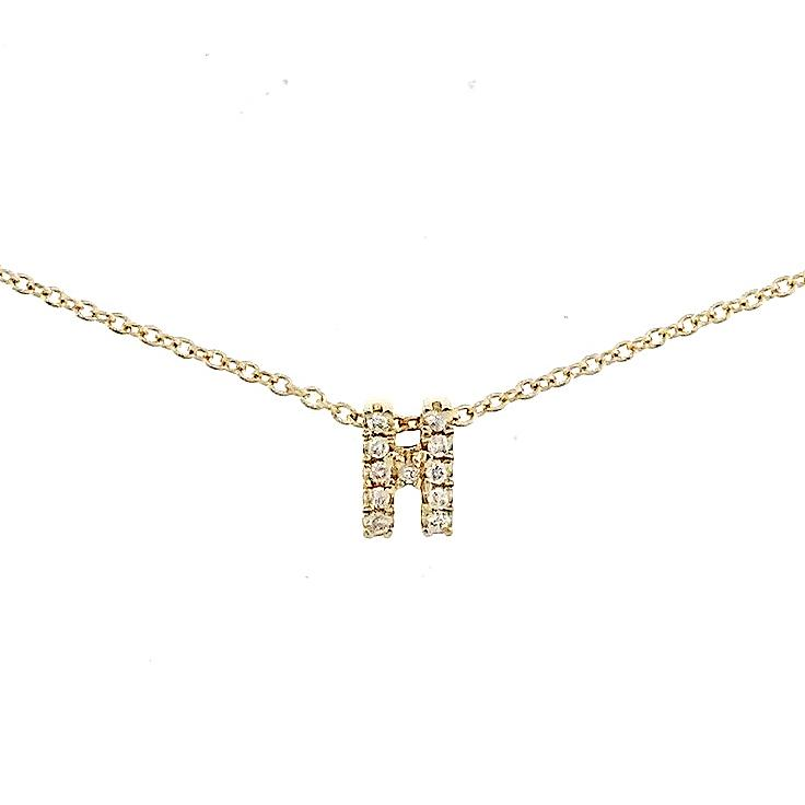 "Skinny Alphabet Necklace ""H"" in 18K Gold with Diamonds. - Kura Jewellery"