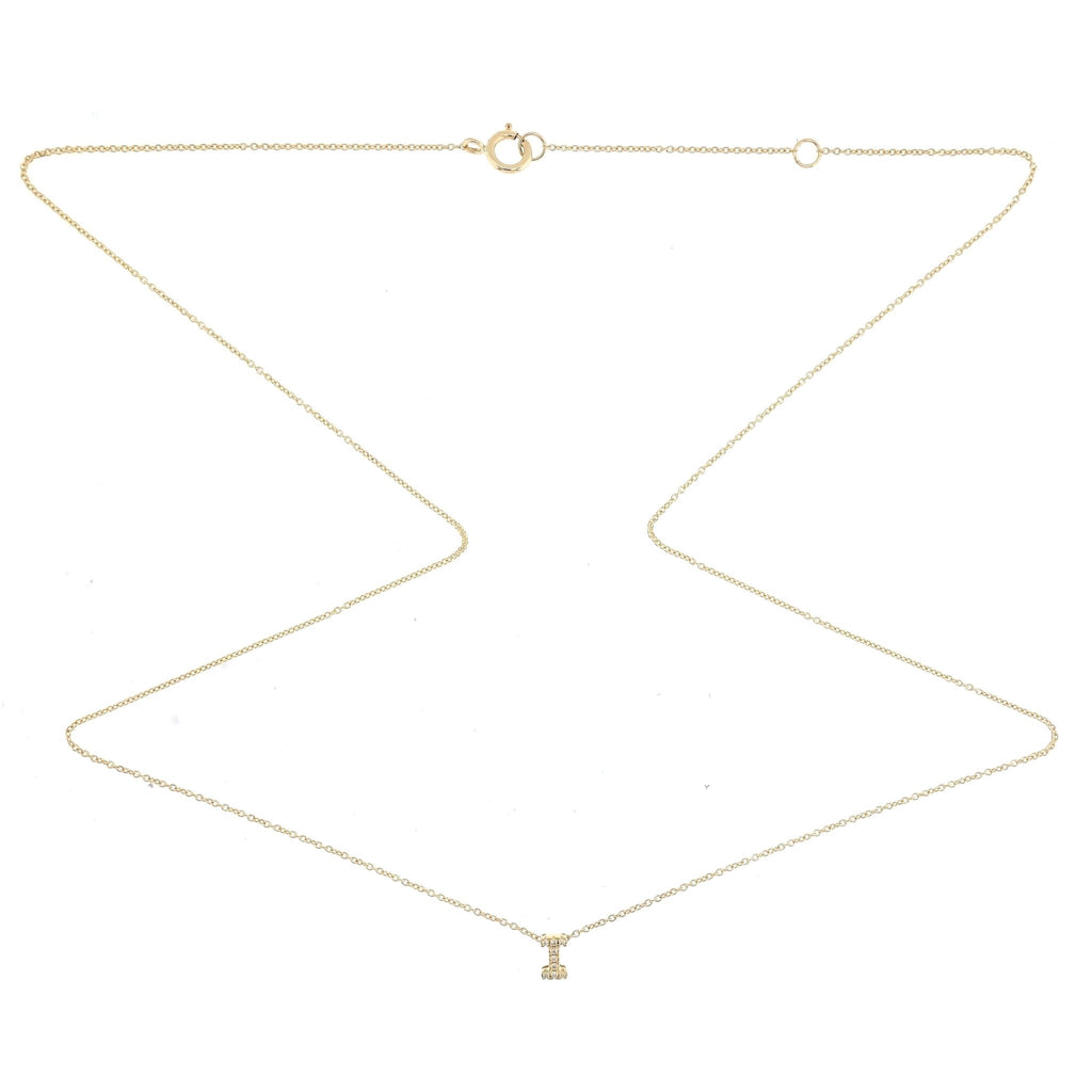 "Skinny Alphabet Necklace ""I"" in 18K Gold with Diamonds. - Kura Jewellery"