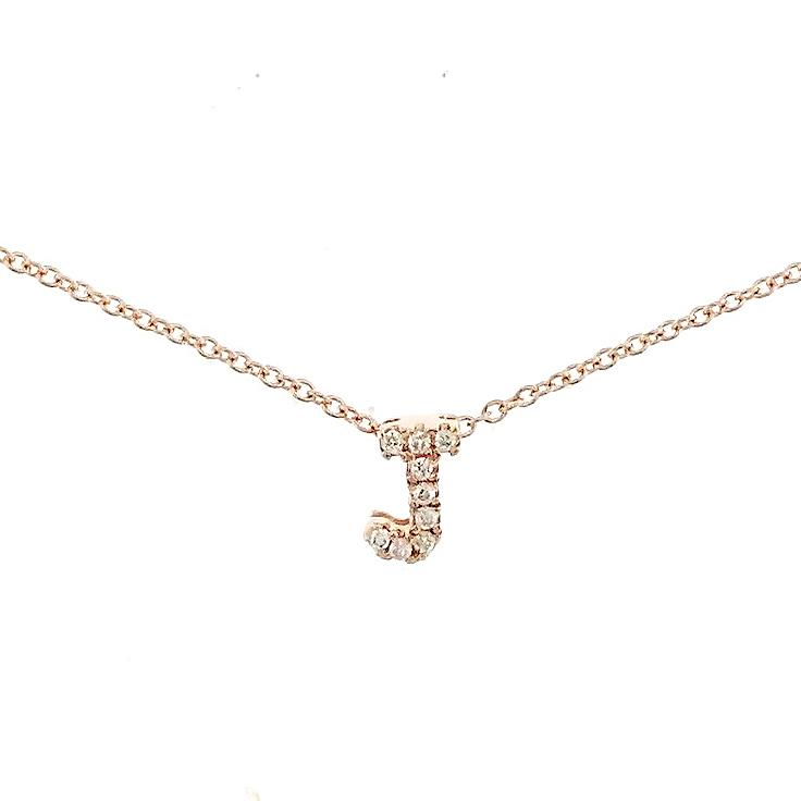 "Skinny Alphabet Necklace ""J"" in 18K Gold with Diamonds. - Kura Jewellery"
