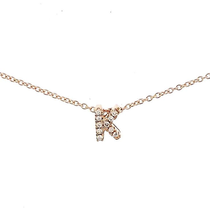 "Skinny Alphabet Necklace ""K"" in 18K Gold with Diamonds. - Kura Jewellery"