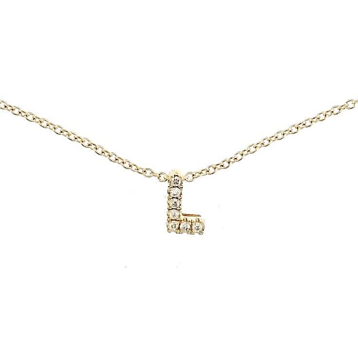 "Skinny Alphabet Necklace ""L"" in 18K Gold with Diamonds. - Kura Jewellery"