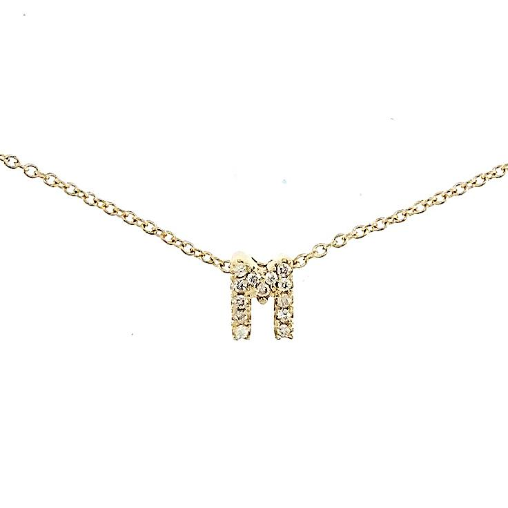 "Skinny Alphabet Necklace ""M"" in 18K Gold with Diamonds. - Kura Jewellery"