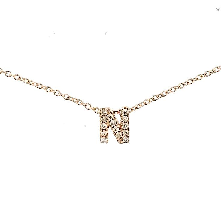 "Skinny Alphabet Necklace ""N"" in 18K Gold with Diamonds. - Kura Jewellery"