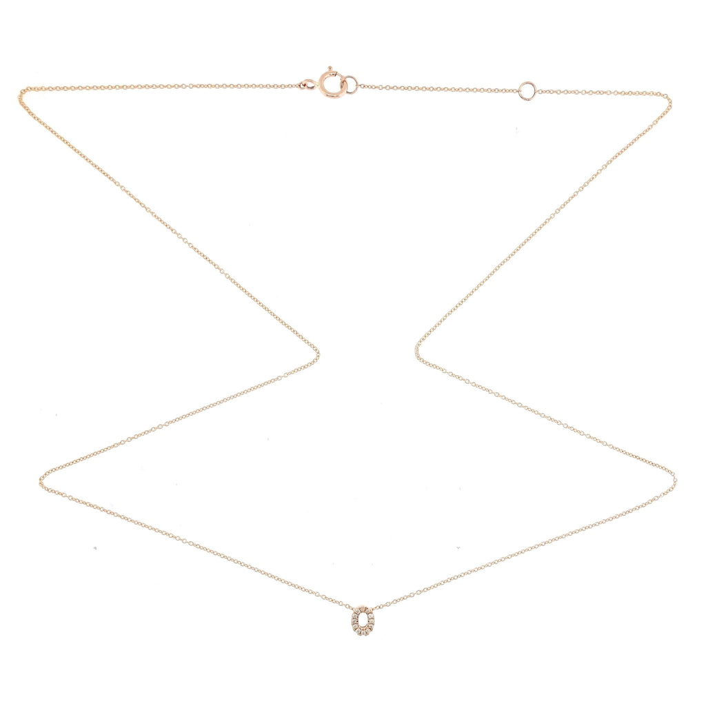 "Skinny Alphabet Necklace ""O"" in 18K Gold with Diamonds. - Kura Jewellery"