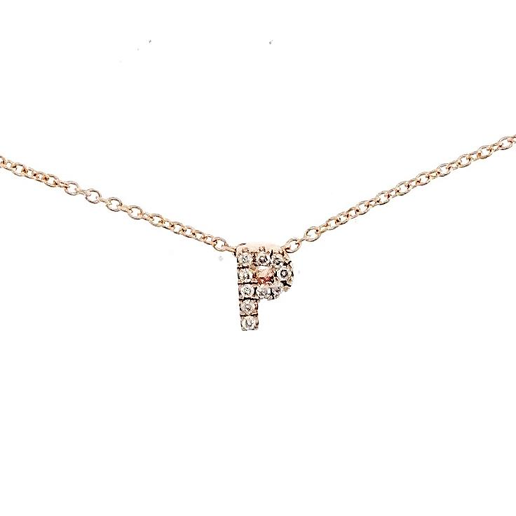 "Skinny Alphabet Necklace ""P"" in 18K Gold with Diamonds. - Kura Jewellery"