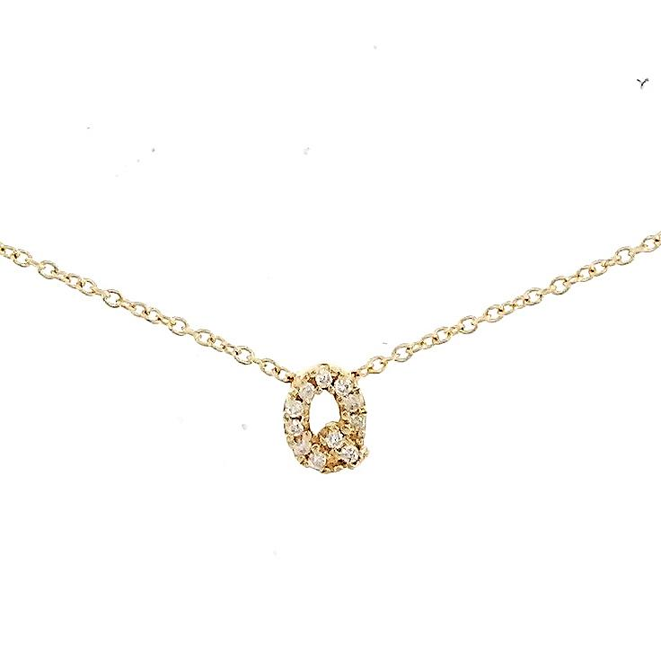 "Skinny Alphabet Necklace ""Q"" in 18K Gold with Diamonds. - Kura Jewellery"