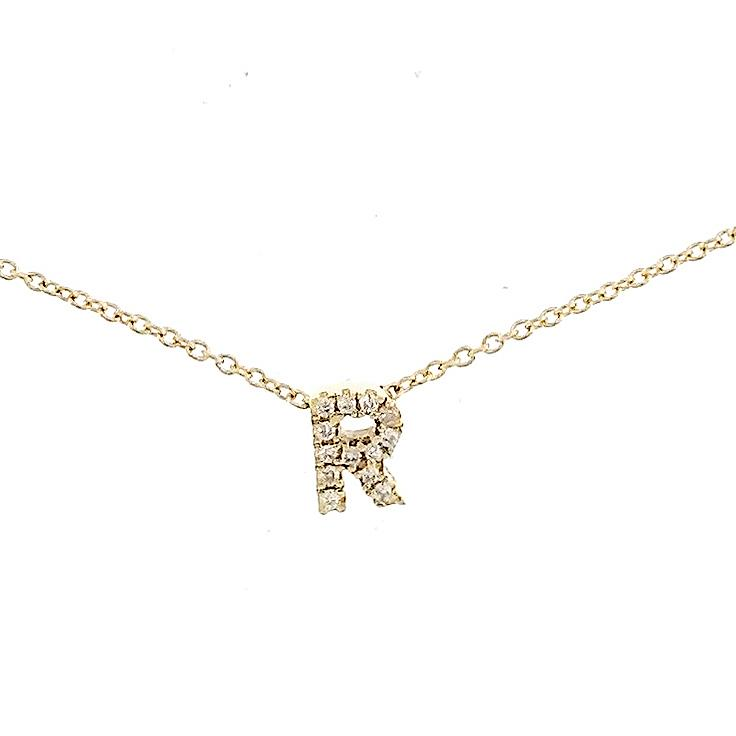 "Skinny Alphabet Necklace ""R"" in 18K Gold with Diamonds. - Kura Jewellery"
