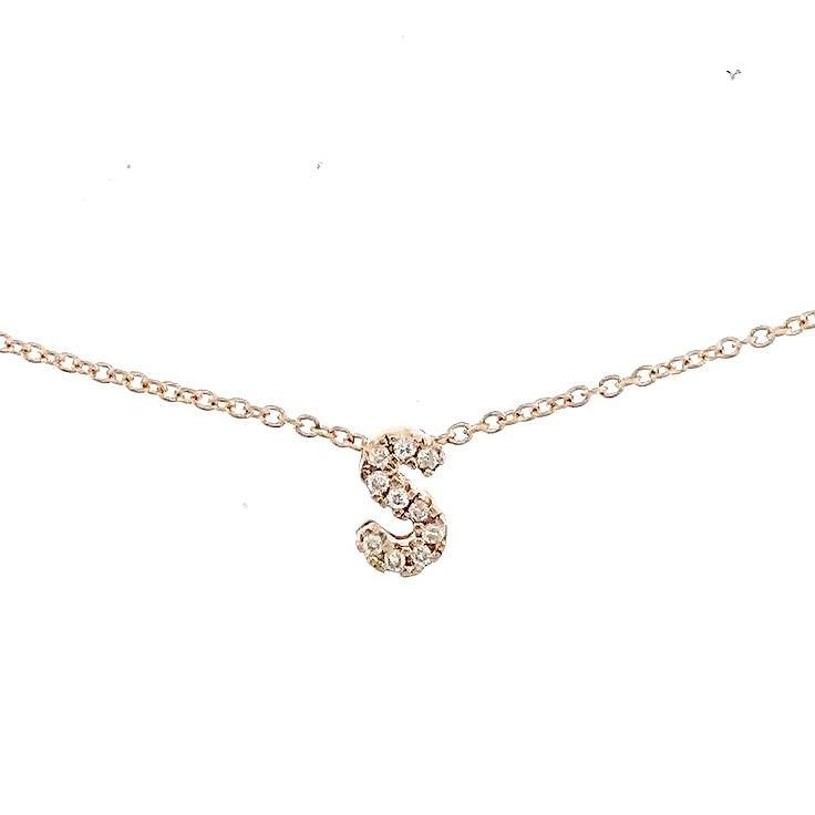 "Skinny Alphabet Necklace ""S"" in 18K Gold with Diamonds. - Kura Jewellery"