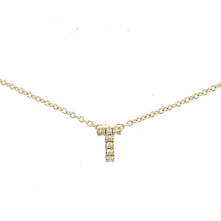 "Skinny Alphabet Necklace ""T"" in 18K Gold with Diamonds. - Kura Jewellery"