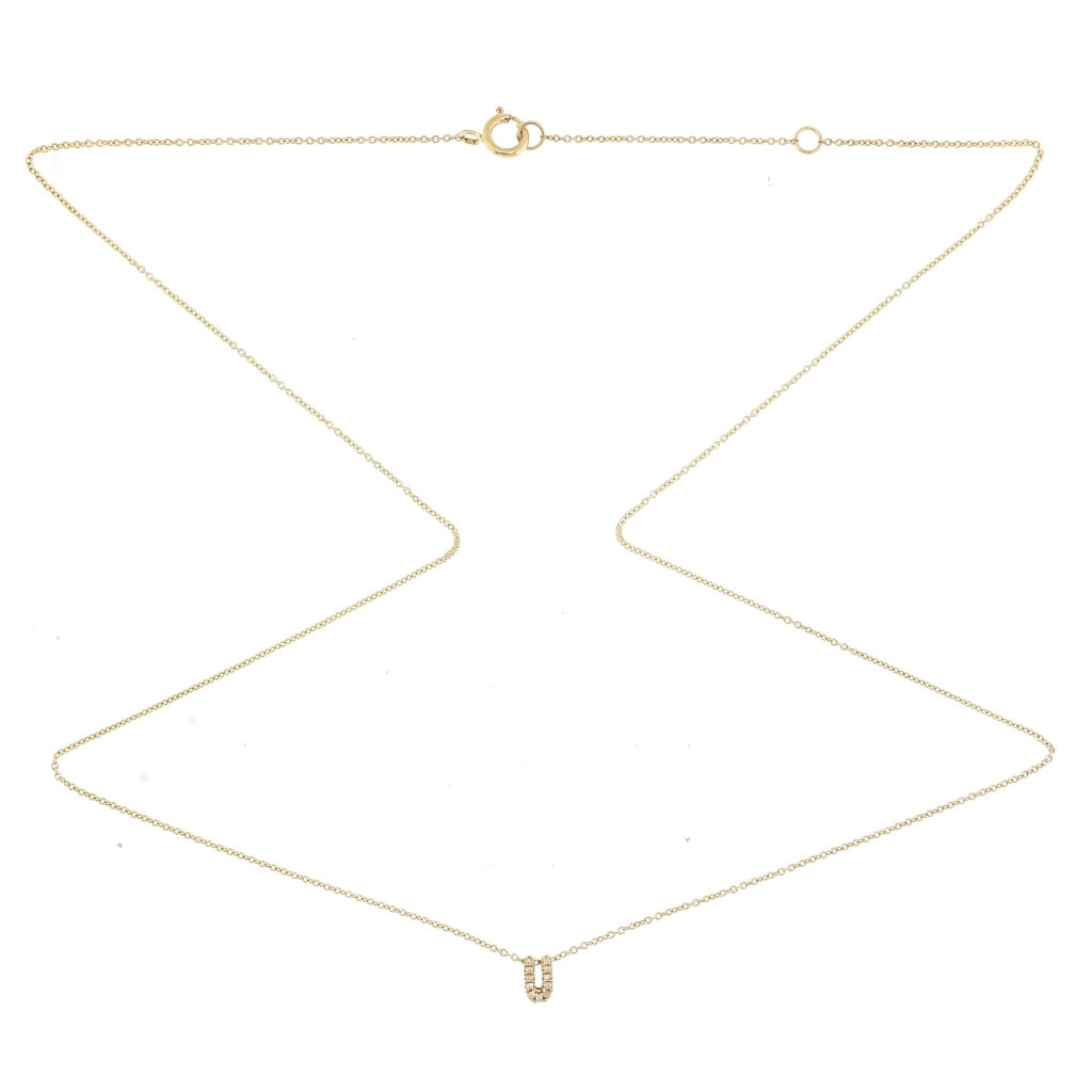 "Skinny Alphabet Necklace ""U"" in 18K Gold with Diamonds. - Kura Jewellery"
