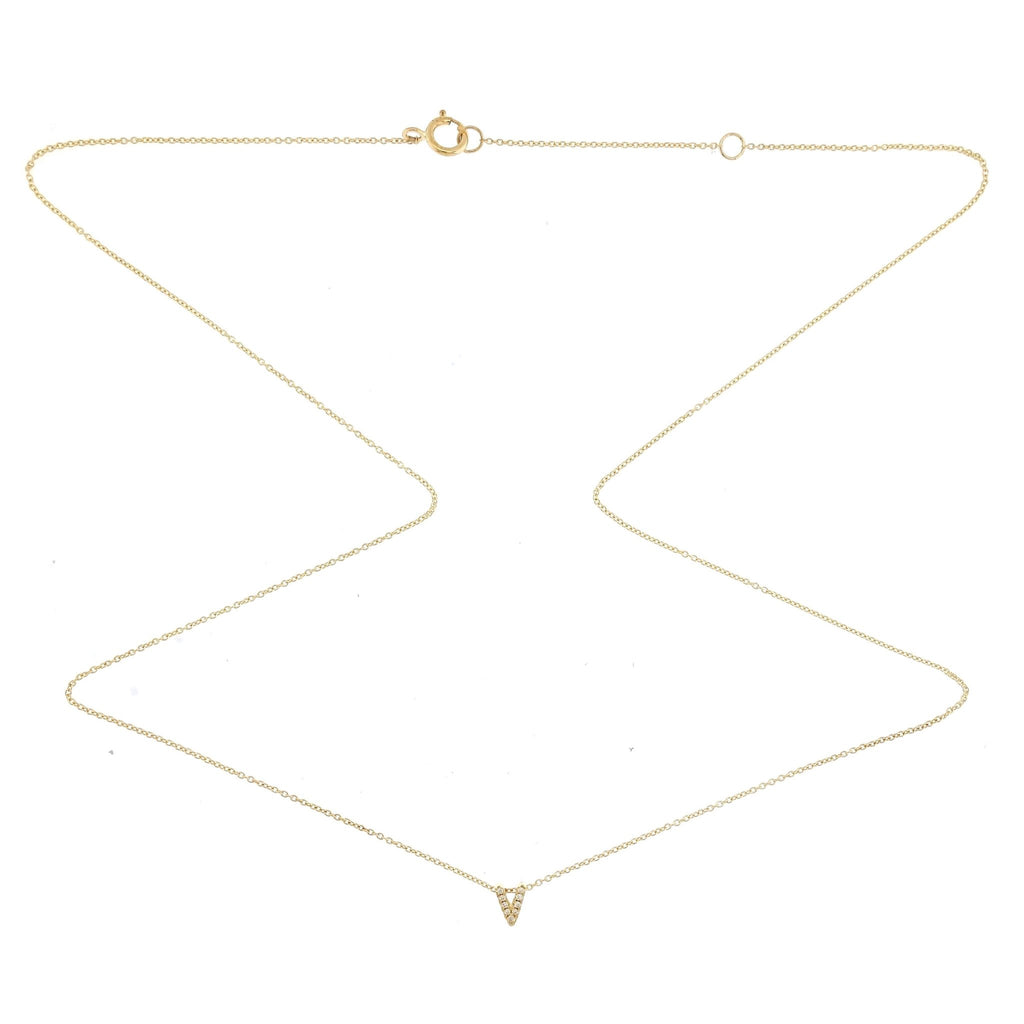 "Skinny Alphabet Necklace ""V"" in 18K Gold with Diamonds. - Kura Jewellery"