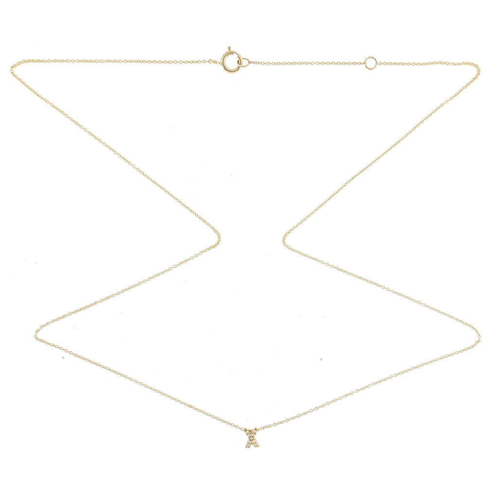 "Skinny Alphabet Necklace ""X"" in 18K Gold with Diamonds. - Kura Jewellery"