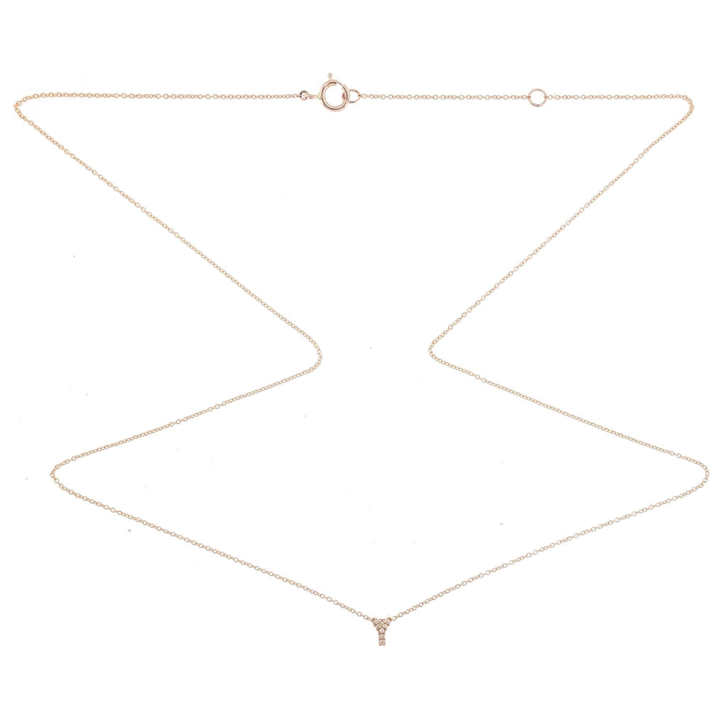 "Skinny Alphabet Necklace ""Y"" in 18K Gold with Diamonds. - Kura Jewellery"