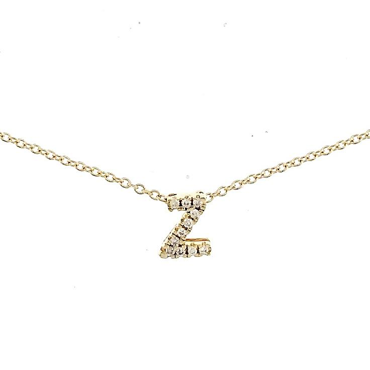 "Skinny Alphabet Necklace ""Z"" in 18K Gold with Diamonds. - Kura Jewellery"