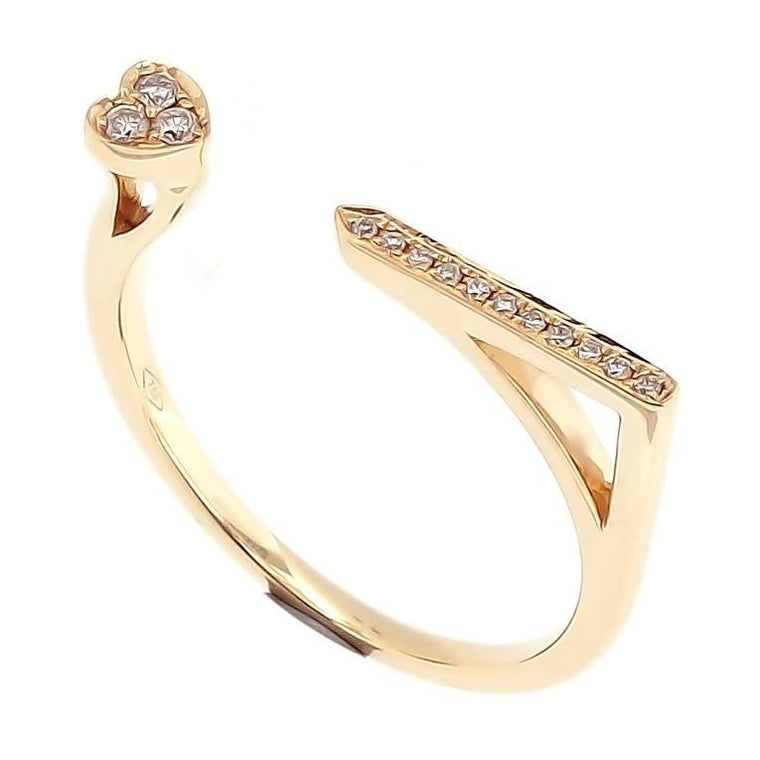 Skinny Bar Ring with Diamonds in 18Karat Yellow Gold (pre-order)