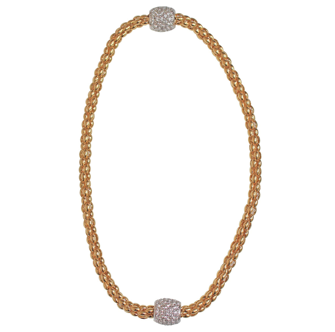 Pave Magnetic Choker- Yellow Gold Plated on Sterling Silver