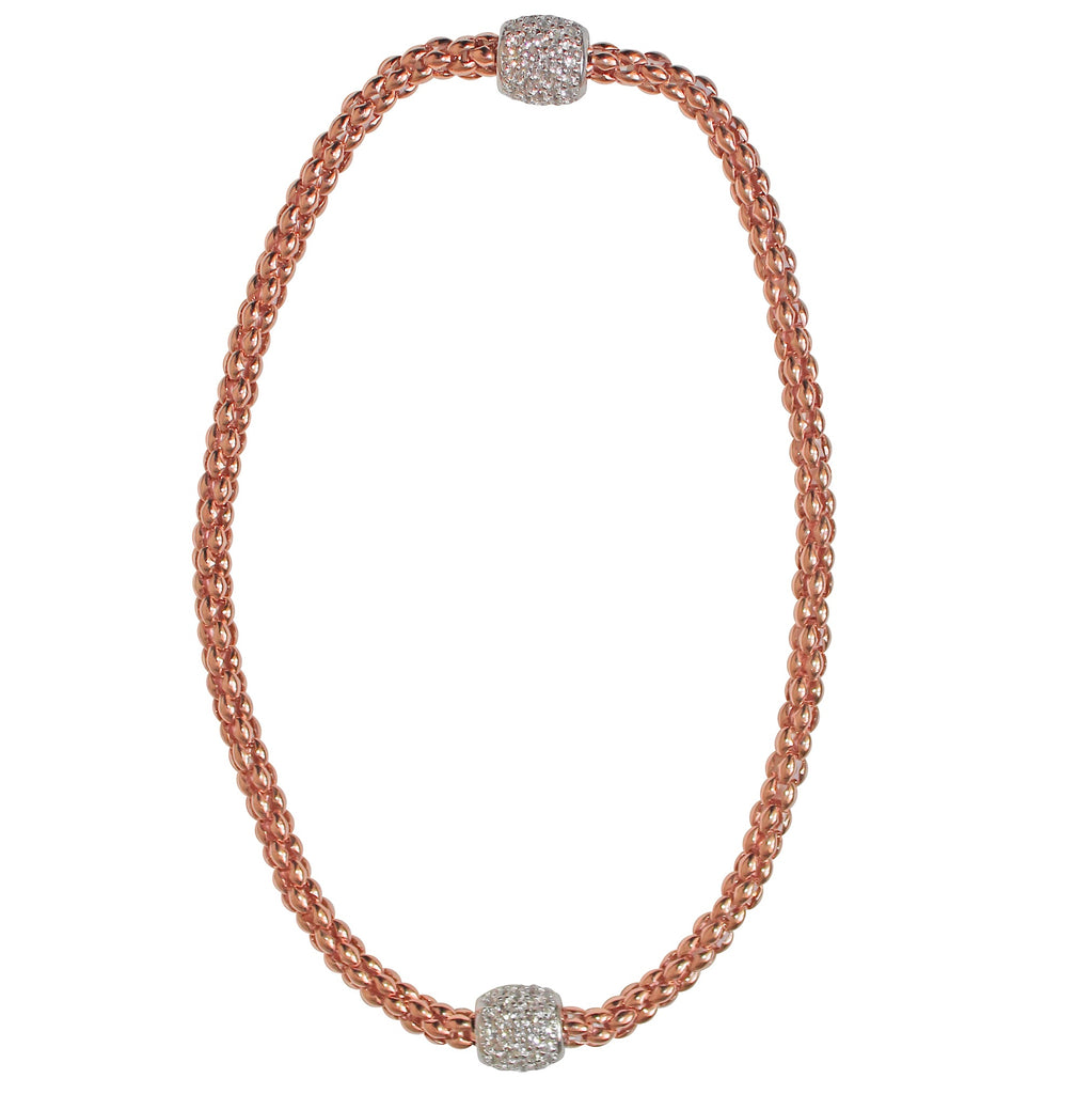 Pave Magnetic Choker- Rose Gold Plated on Sterling Silver