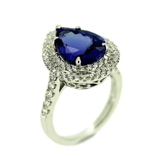 Tanzanite Pear Shape Ring set with diamonds in 18K White Gold