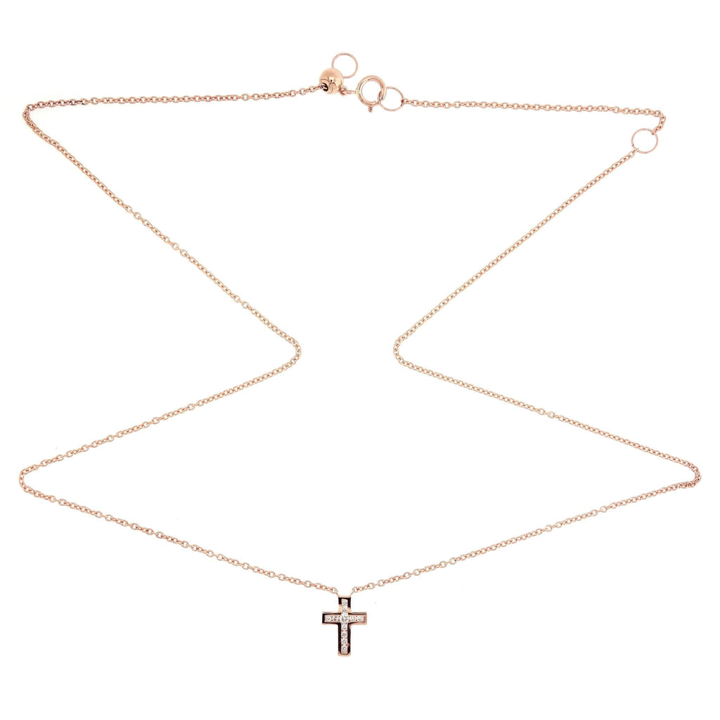 Tiny Cross Necklace/Choker with diamonds in 18Karat Rose Gold