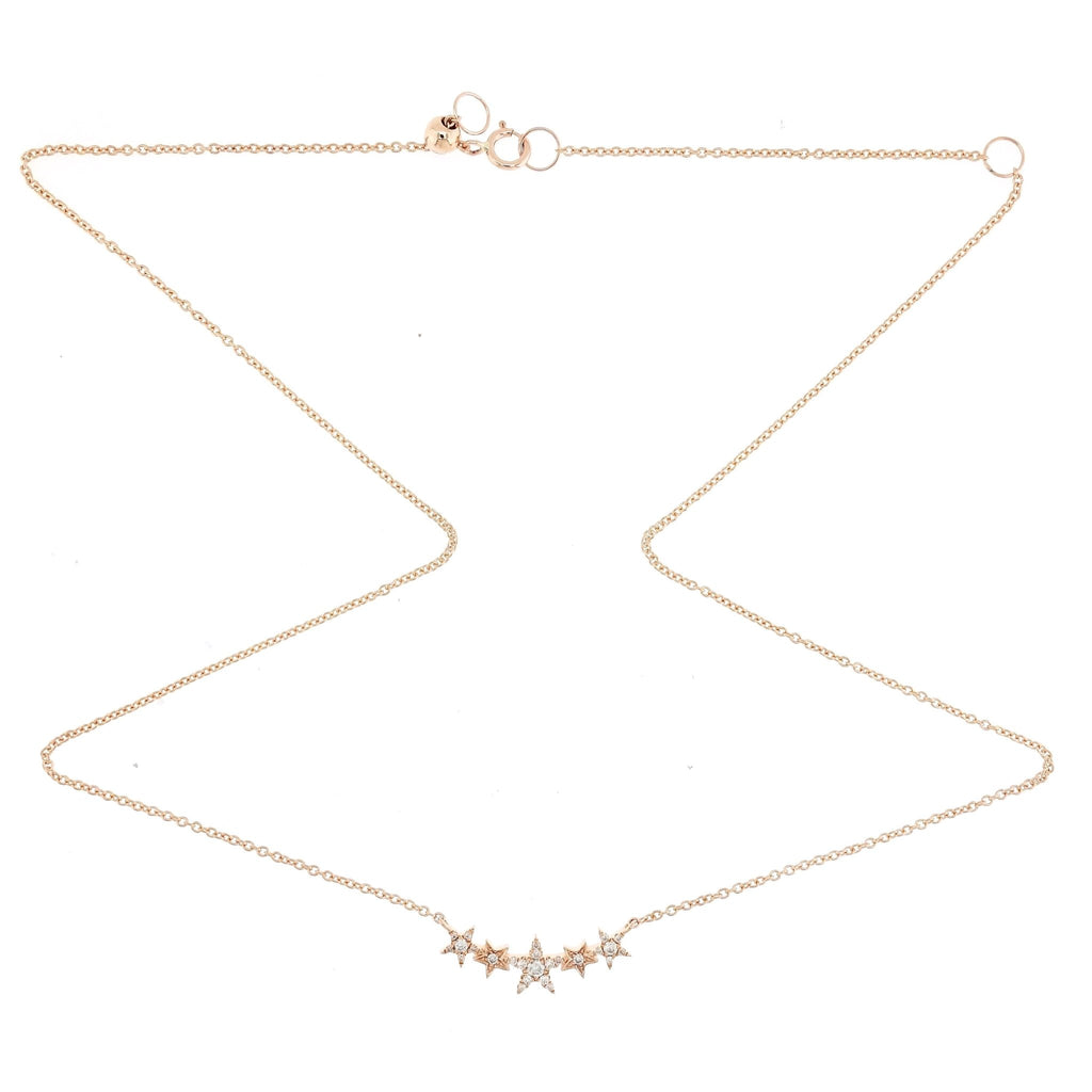Tiny Three Star Necklace with Diamonds in 18K Rose Gold - Kura Jewellery