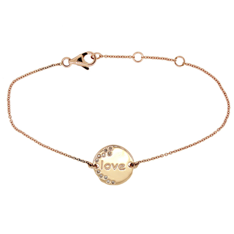 Disc Bracelet. Write Your Own Message in 14Karat Gold (pre-order)