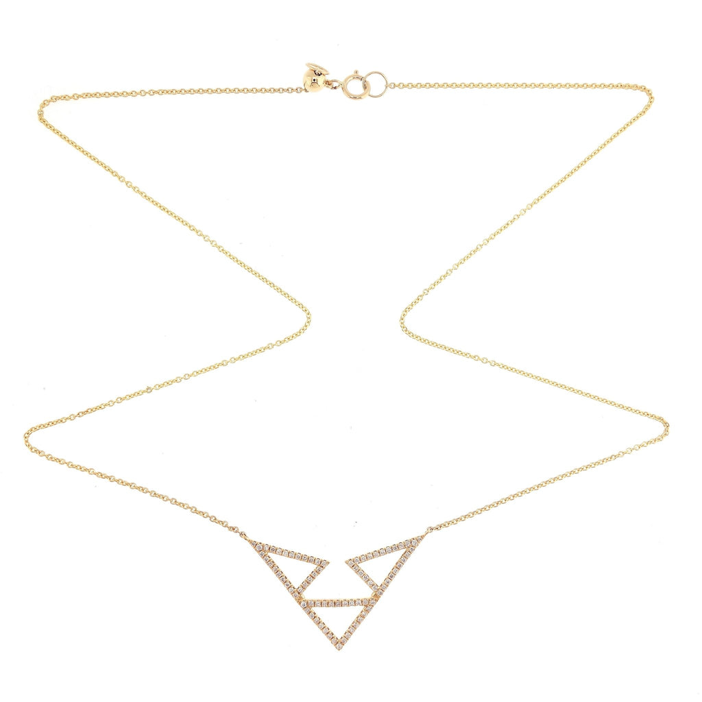 Triple Triangle Necklace/Choker with Diamonds in 18Karat Yellow Gold