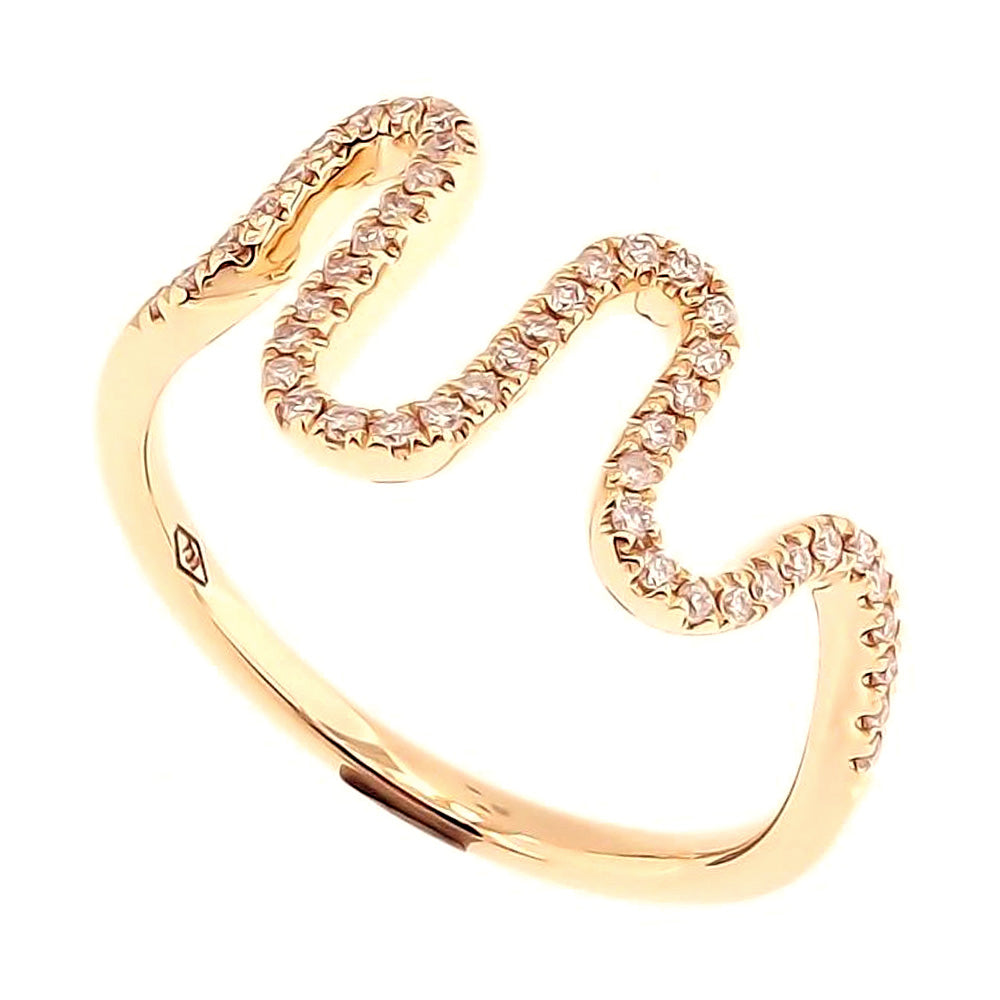 Wavy Skinny Ring with Diamonds in 18Karat Gold - Kura Jewellery