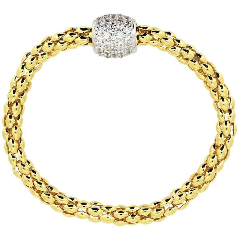 Pave Magnetic Bracelet - Yellow Gold Plated on Sterling Silver