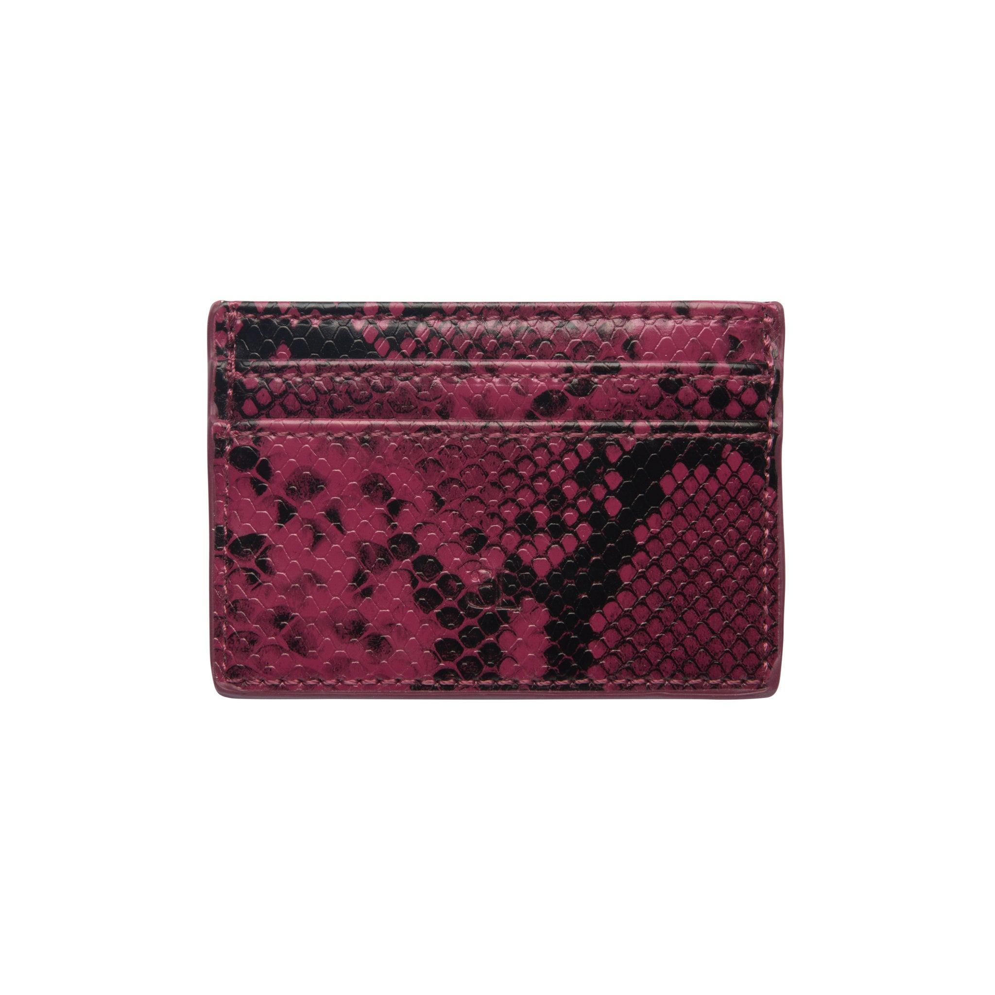 Magenta & Black Snakeskin Clea Card Holder