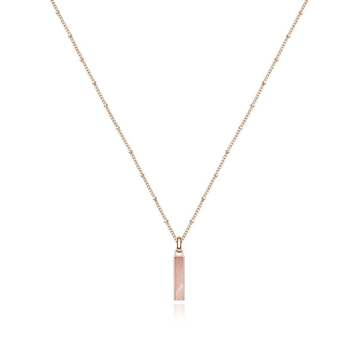 Small Lineare Bijou Charm Necklace (Rose Quartz/Blush)